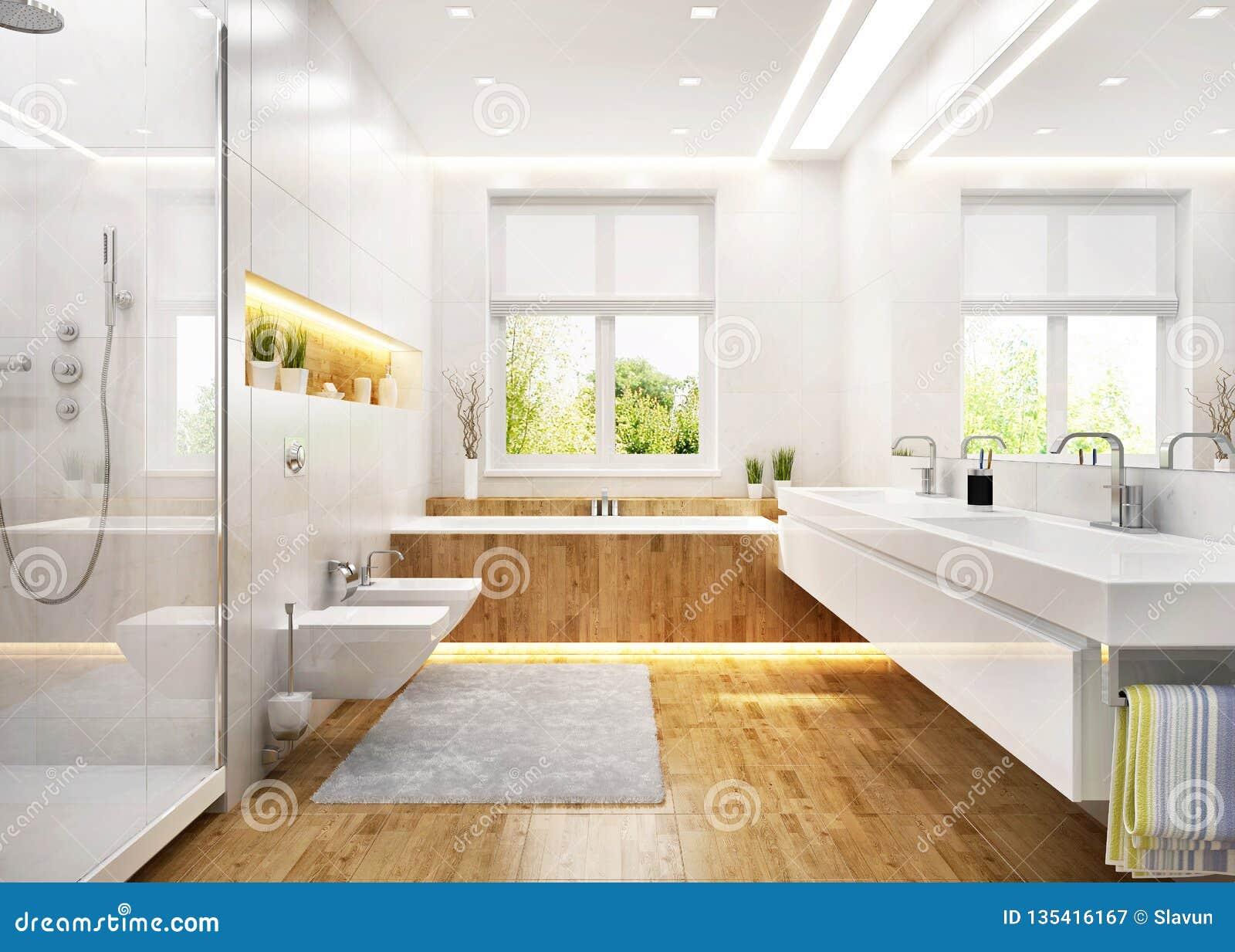 Salle De Bains Blanche De Luxe Dans La Maison Moderne Image stock ...