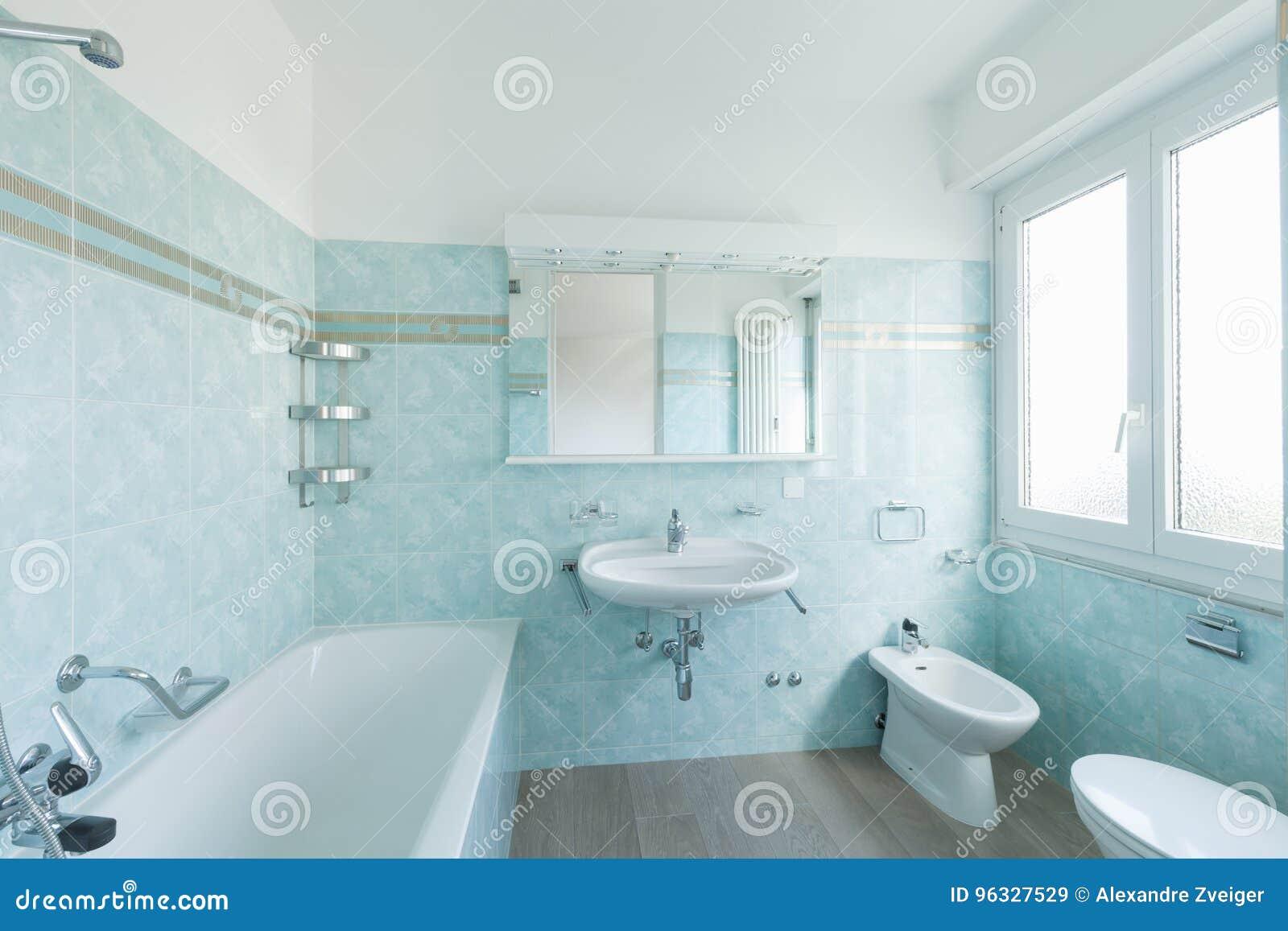 Salle De Bains De Bleu De Vintage Image stock - Image du bleu ...