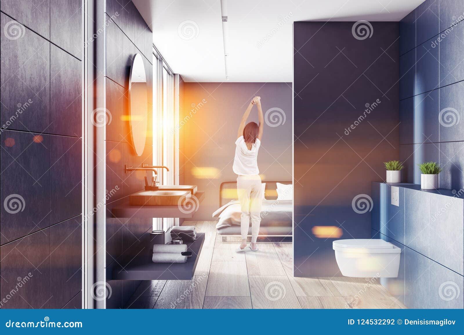 Salle De Bains Bleue, Intérieur Gris De Chambre à Coucher, Femme ...