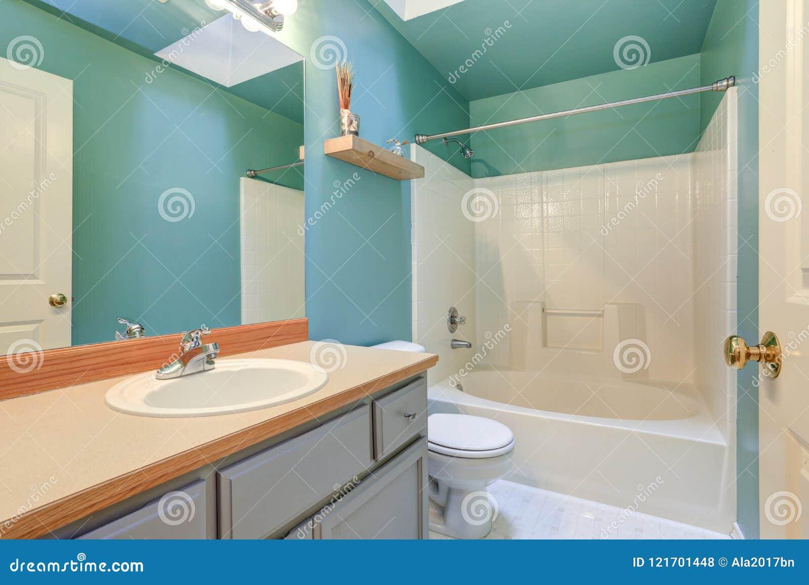 Salle De Bains Bleue Vert Clair Avec Le Baquet Blanc Et ...