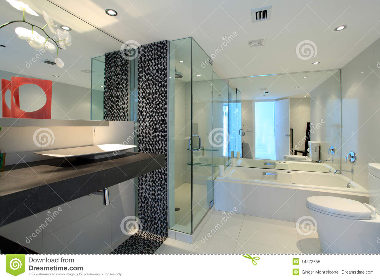 Salle de bains contemporaine image stock image 14873655 for Photo salle de bain contemporaine
