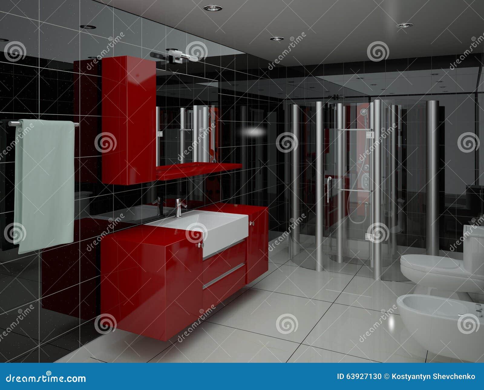 Salle de bains contemporaine avec la douche illustration stock image 63927130 - Salle de douche contemporaine ...