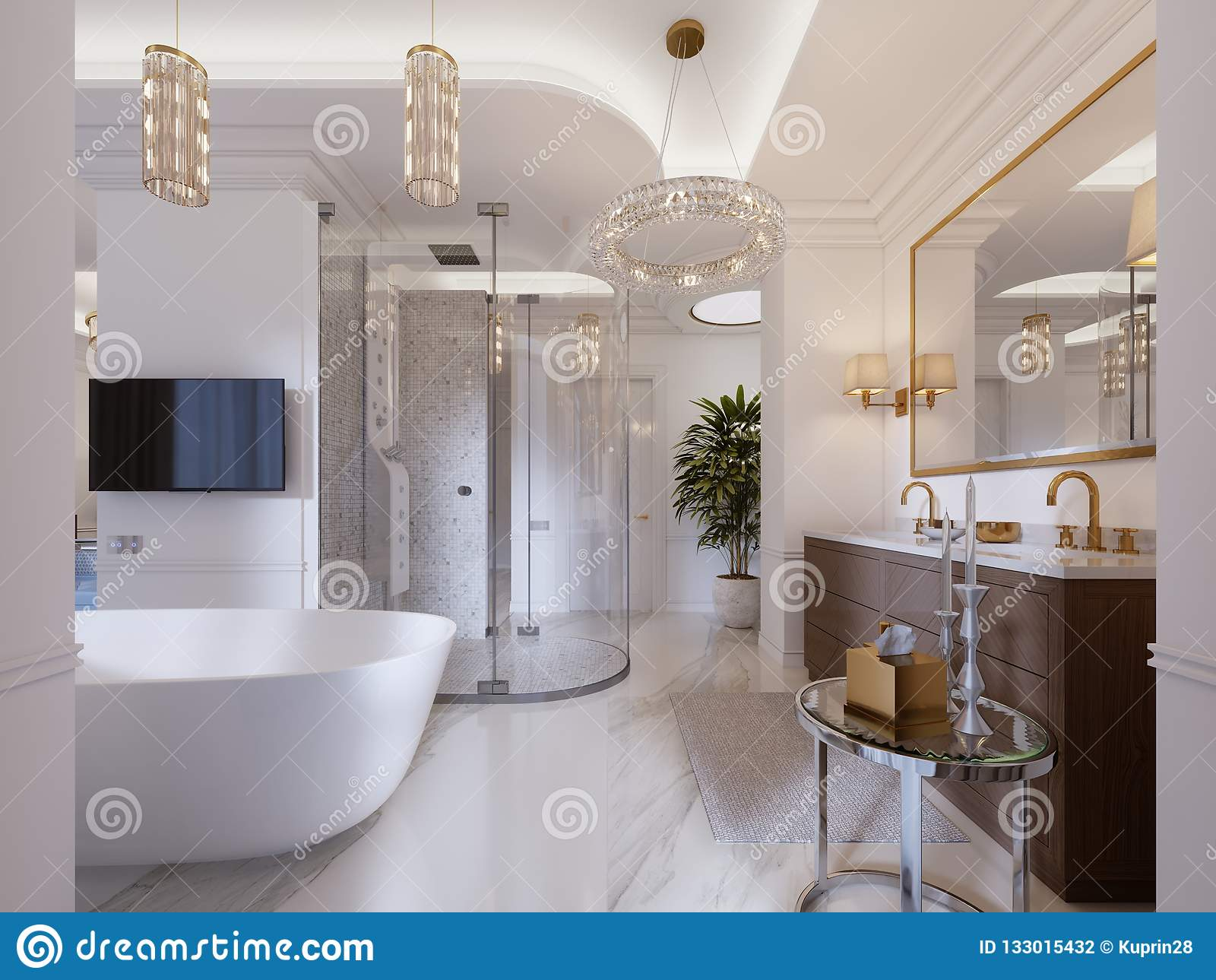 Tele Salle De Bain salle de bains contemporaine luxueuse avec un bain et une tv
