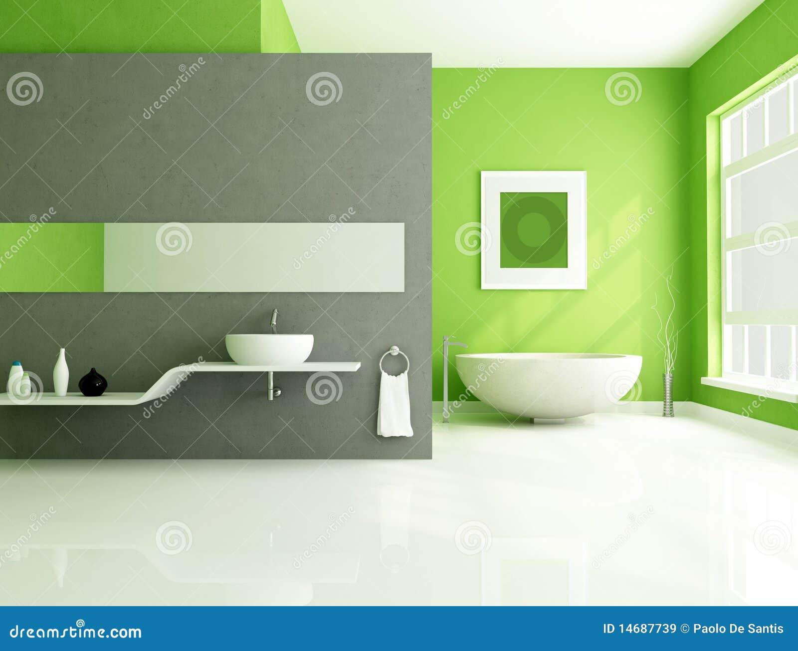 Salle De Bains Contemporaine Verte Et Grise Images libres de ...