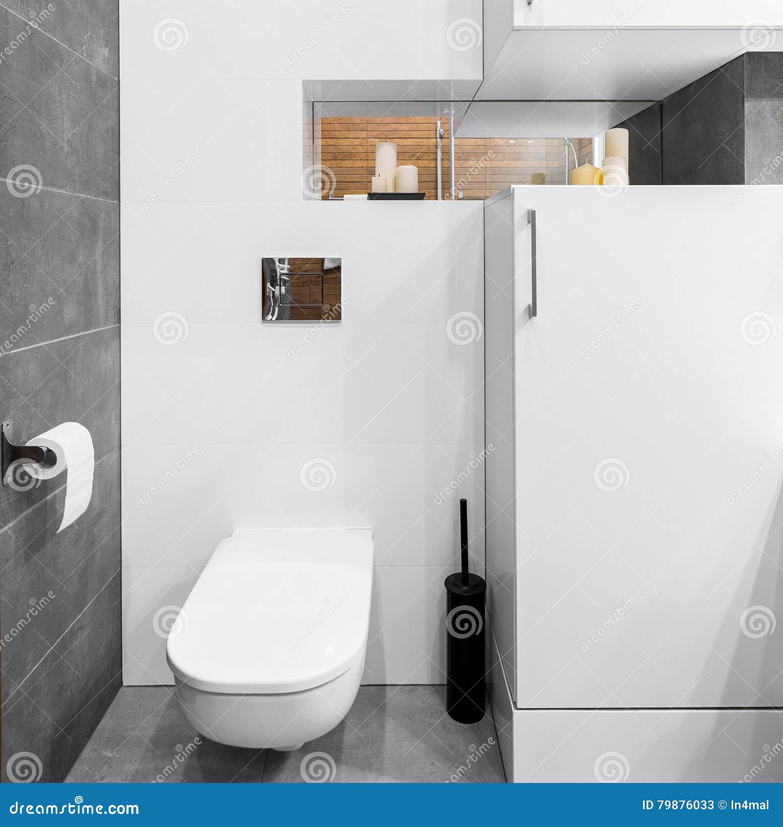 Toilette Gris Et Blanc salle de bains dans blanc et gris image stock - image du