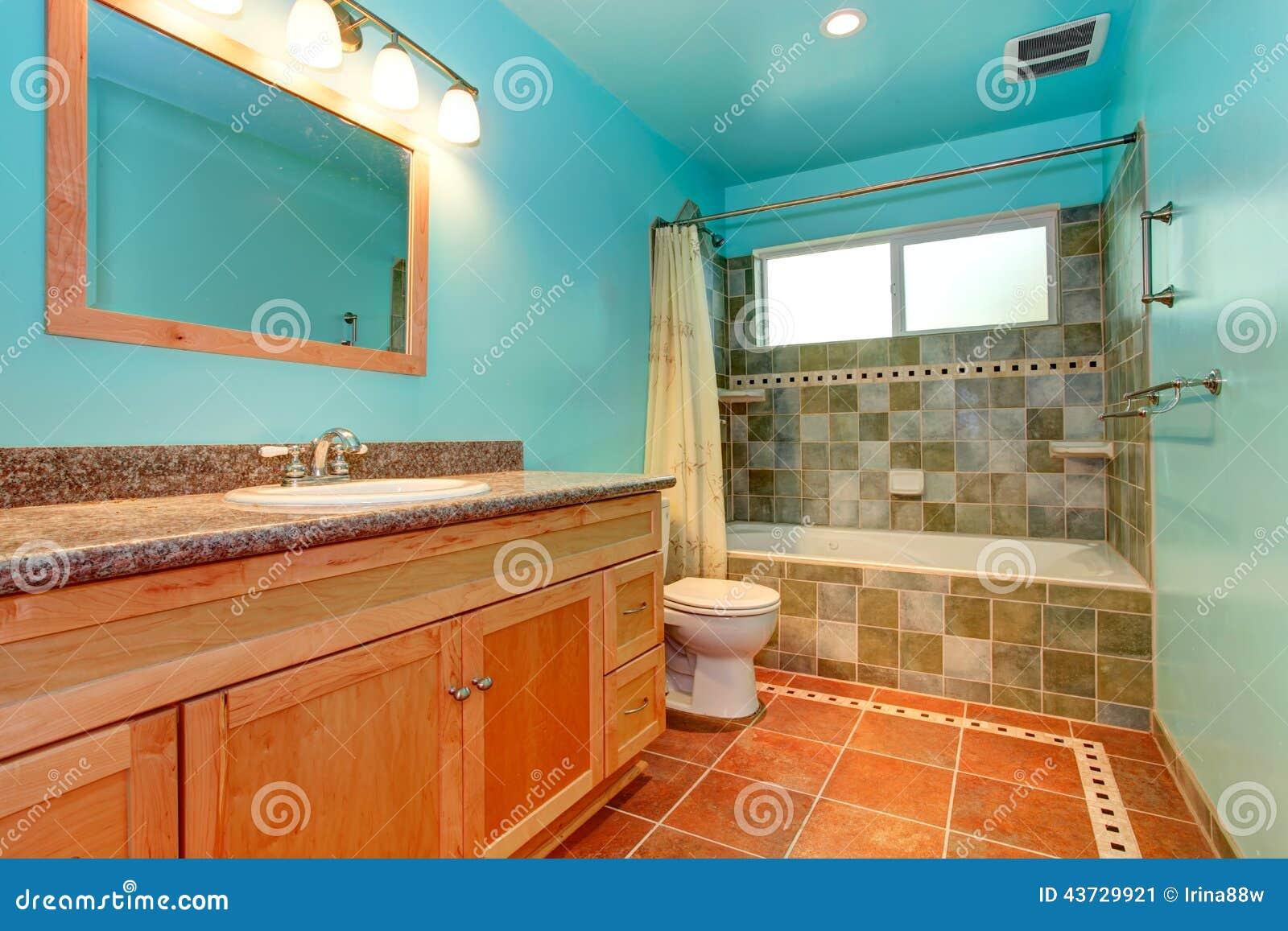 Couleur Vert Salle De Bain salle de bains dans la couleur bleue lumineuse avec l