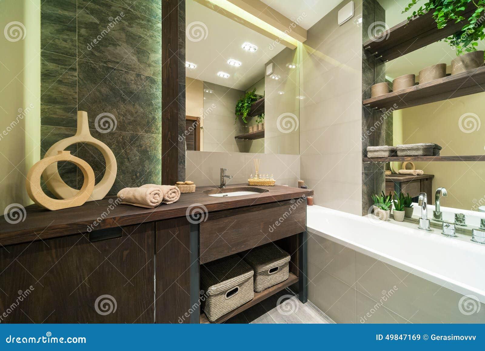 Salle De Bains Dans Le Style D\'eco Image stock - Image du ...