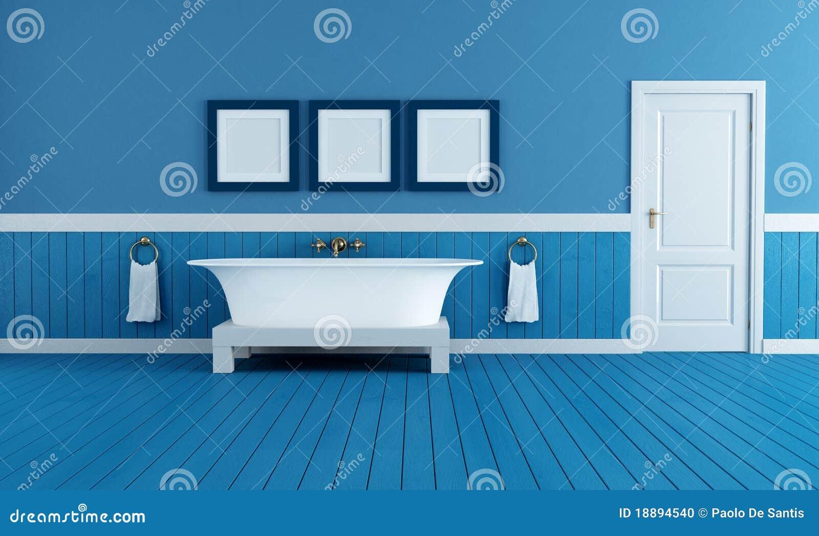 Salle de bains de bleu de vieux type