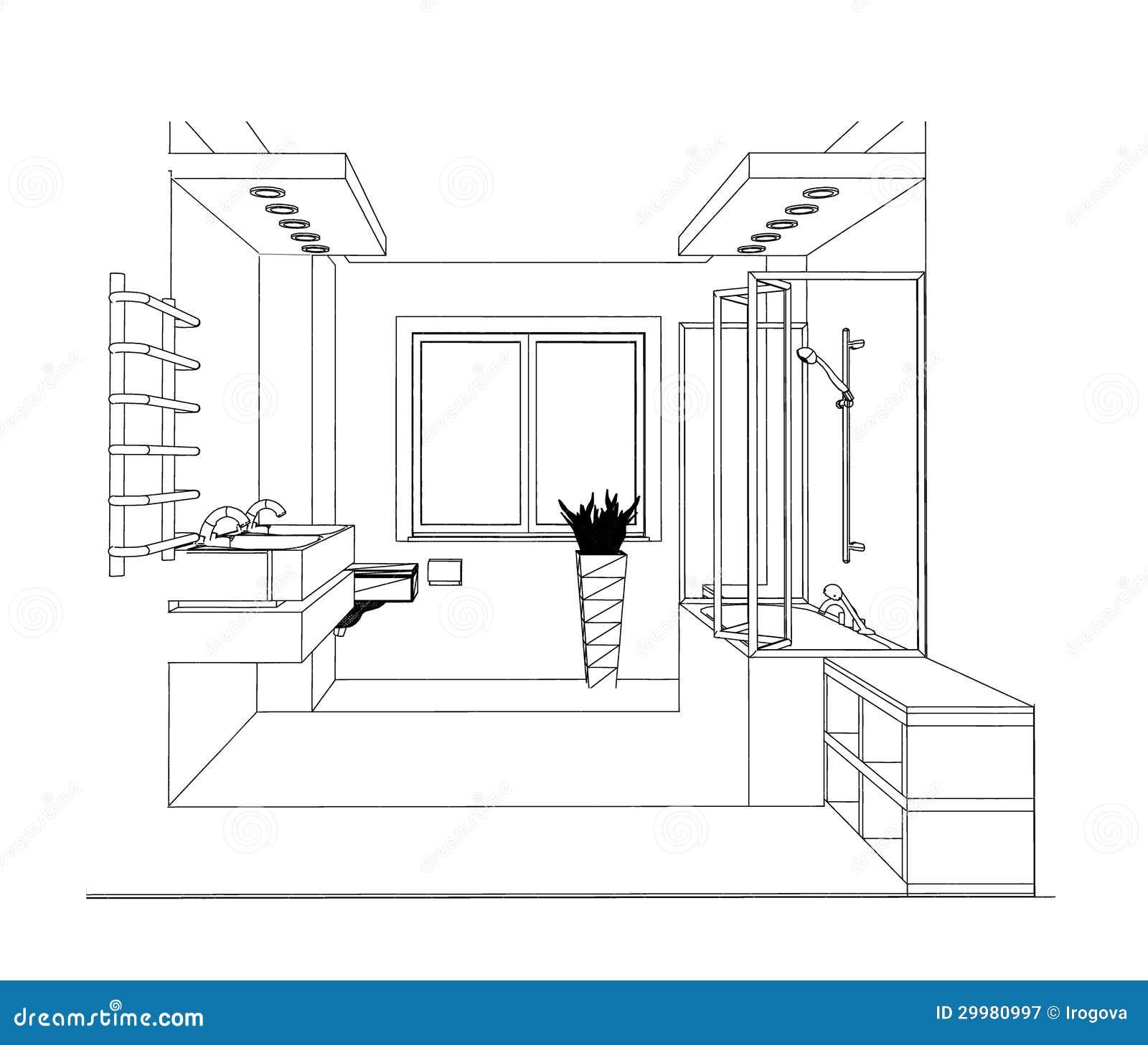 salle de bains de croquis image stock image du patrimoine 29980997. Black Bedroom Furniture Sets. Home Design Ideas