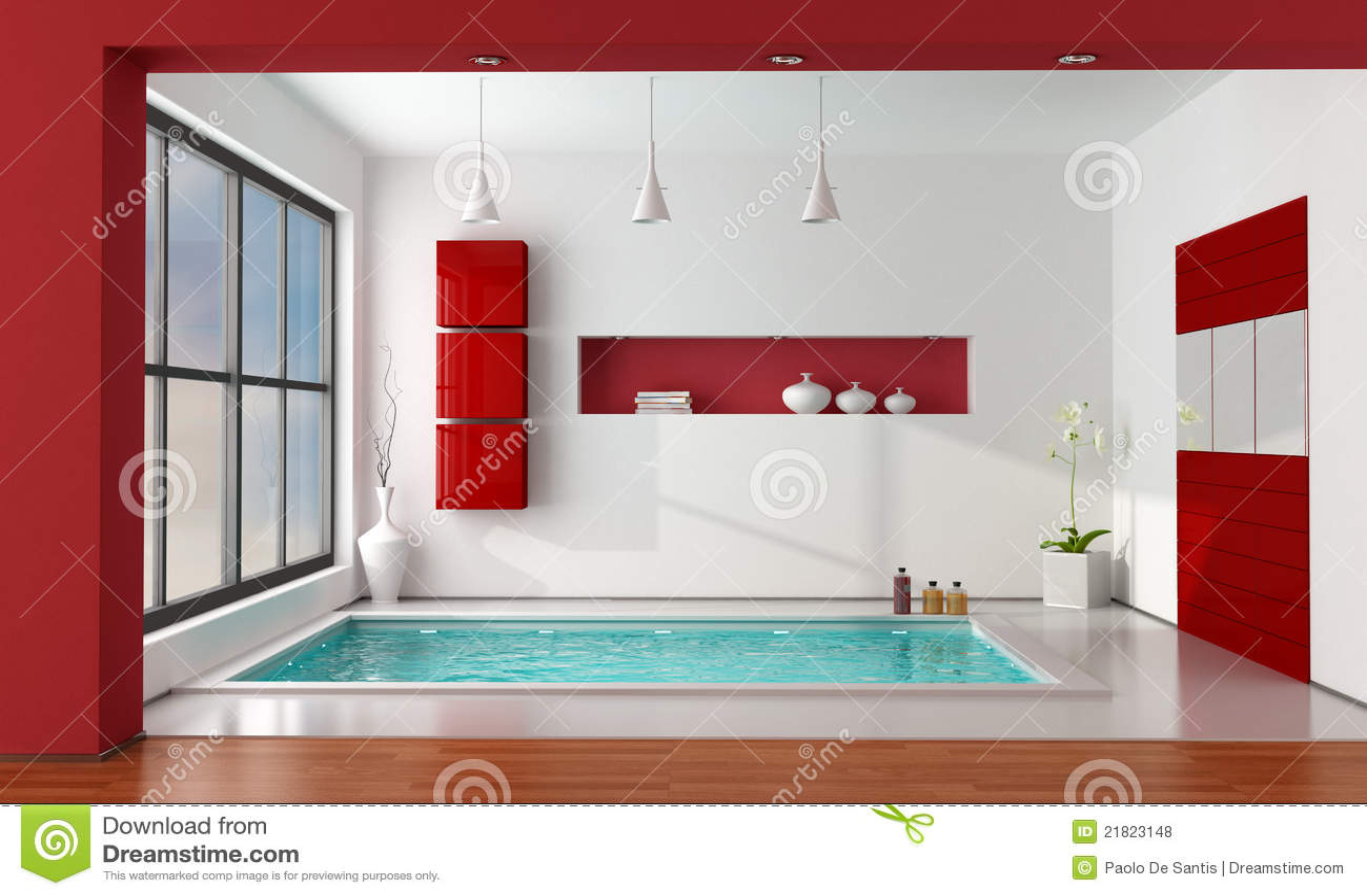 salle de bains de luxe rouge et blanche photos libres de droits image 21823148. Black Bedroom Furniture Sets. Home Design Ideas