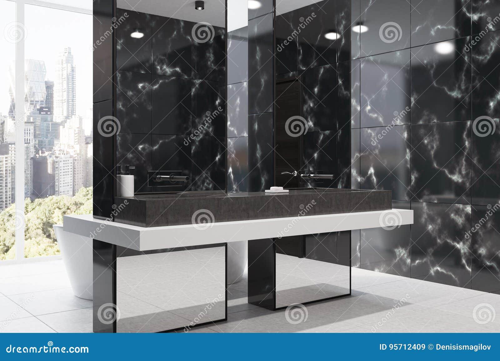 Salle De Bain Couloir Wc ~ Salle De Bains De Marbre Noire Panoramique C T Illustration Stock