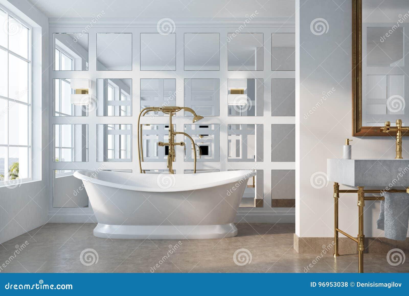 Interieur De Salle Bains Vintage Avec Une Baignoire Blanche Douche Dor Un Miroir Encadre Sur Mur Et Verre Concept Luxe