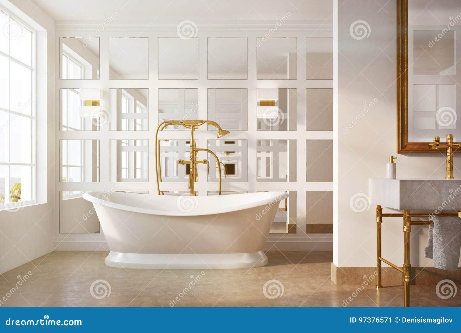 Intérieur De Salle De Bains De Vintage Avec Une Baignoire Blanche, Une  Douche Du0027or, Un Miroir Encadré Sur Un Mur Et Un Mur De Verre Concept De  Luxe Et De ...
