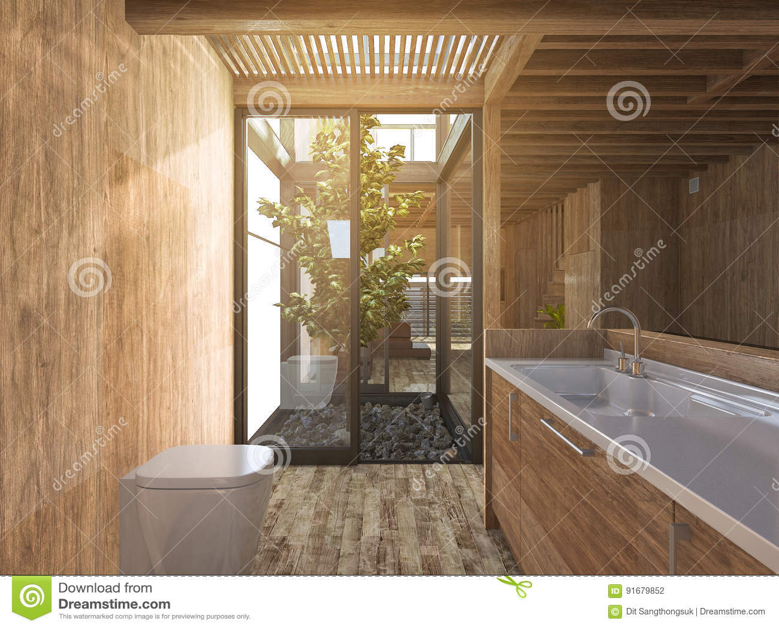Salle De Bains En Bois Du Rendu 3d Près De Jardin De Roche Japonais ...