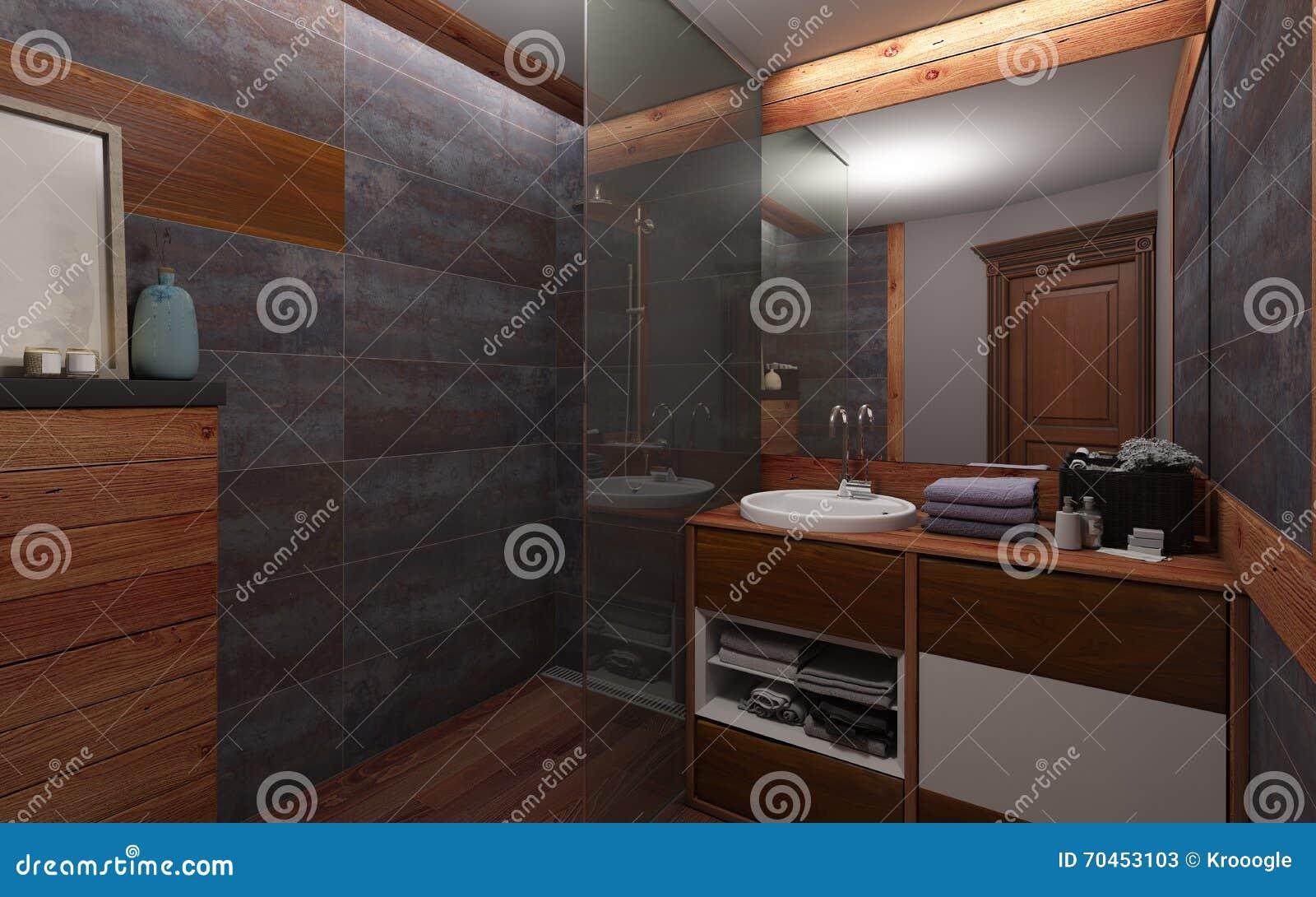 Salle De Bains En Couleur Foncee Et Bois Image Stock Image Du