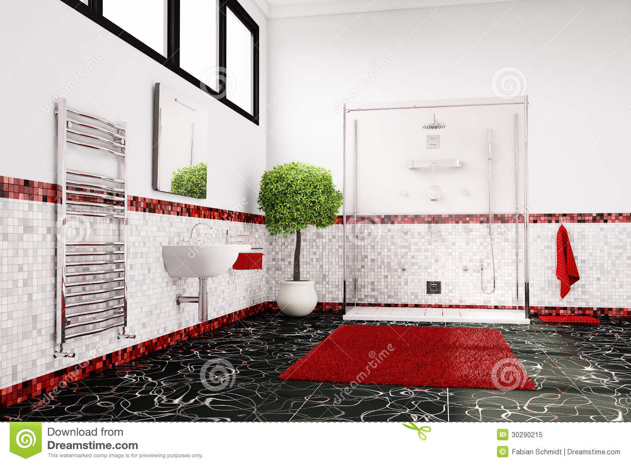 salle de bain frise rouge. Black Bedroom Furniture Sets. Home Design Ideas