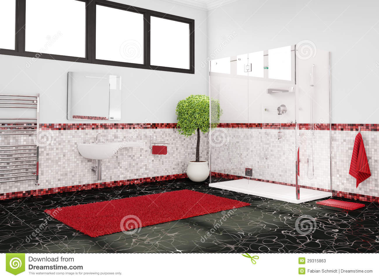 salle de bains en rouge le blanc et le noir photos stock. Black Bedroom Furniture Sets. Home Design Ideas