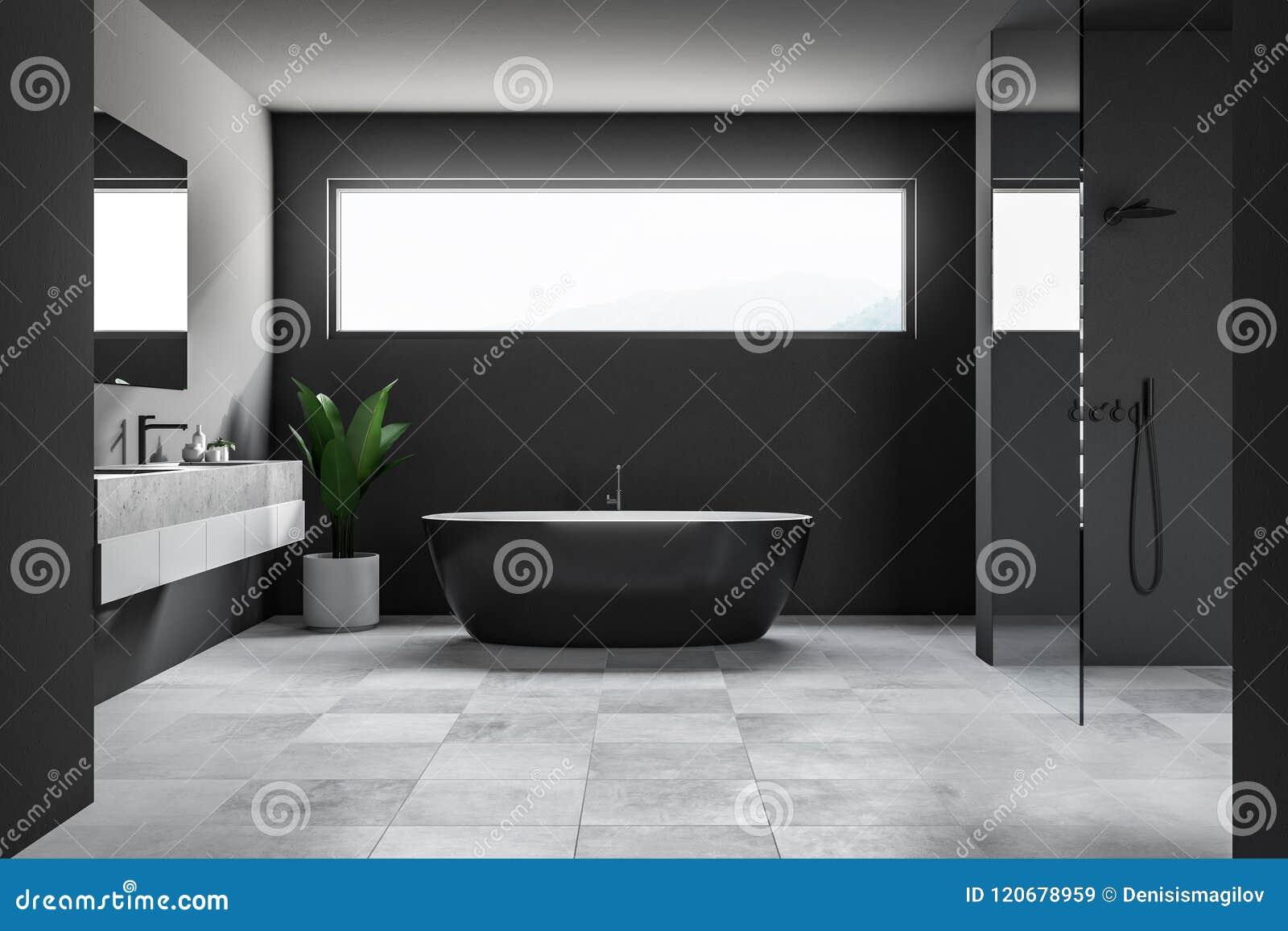 Fenetre Salle De Bain salle de bains foncée intérieure, fenêtre étroite
