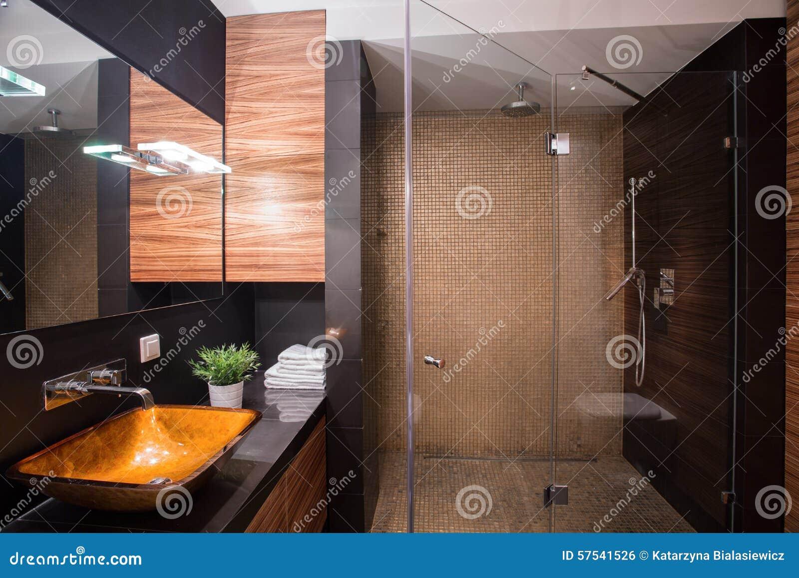 salle de bains fonc e avec la grande douche photo stock image 57541526. Black Bedroom Furniture Sets. Home Design Ideas