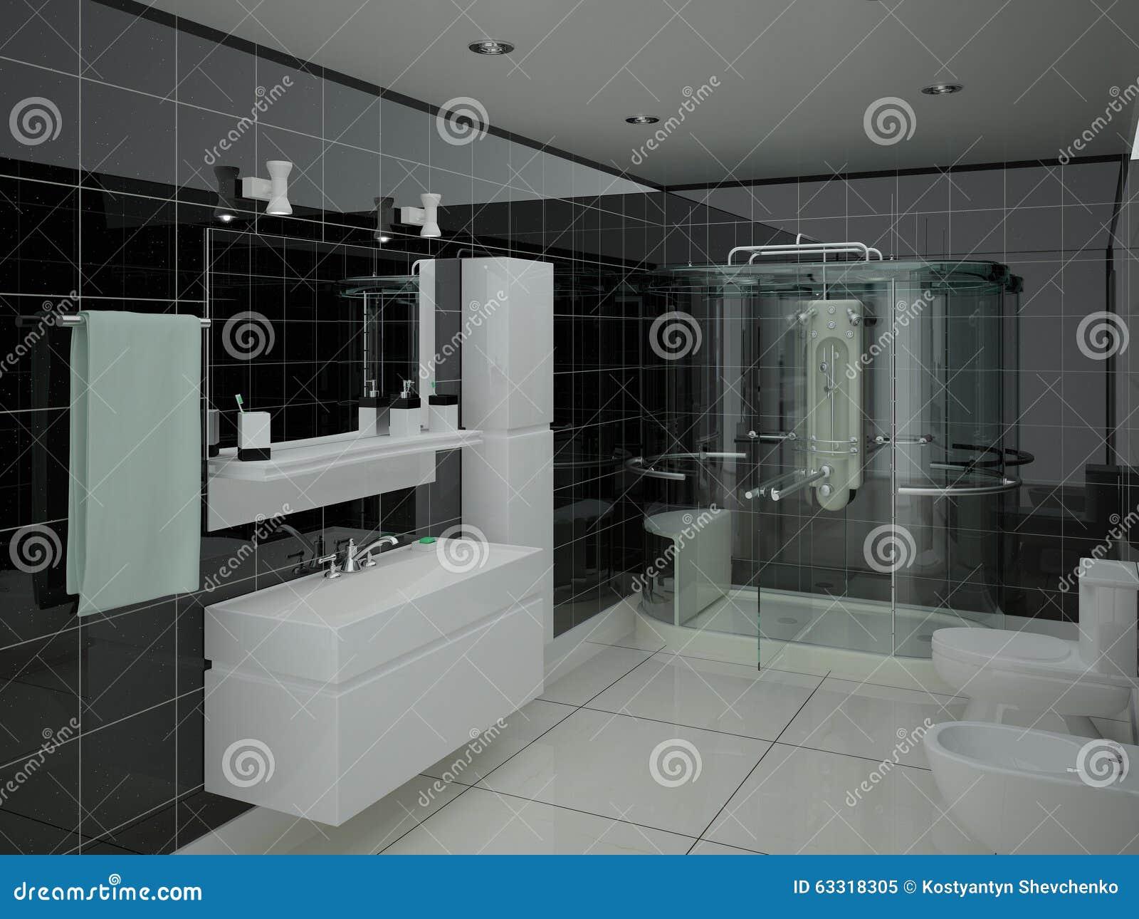 salle de bains fonctionnelle moderne illustration stock. Black Bedroom Furniture Sets. Home Design Ideas