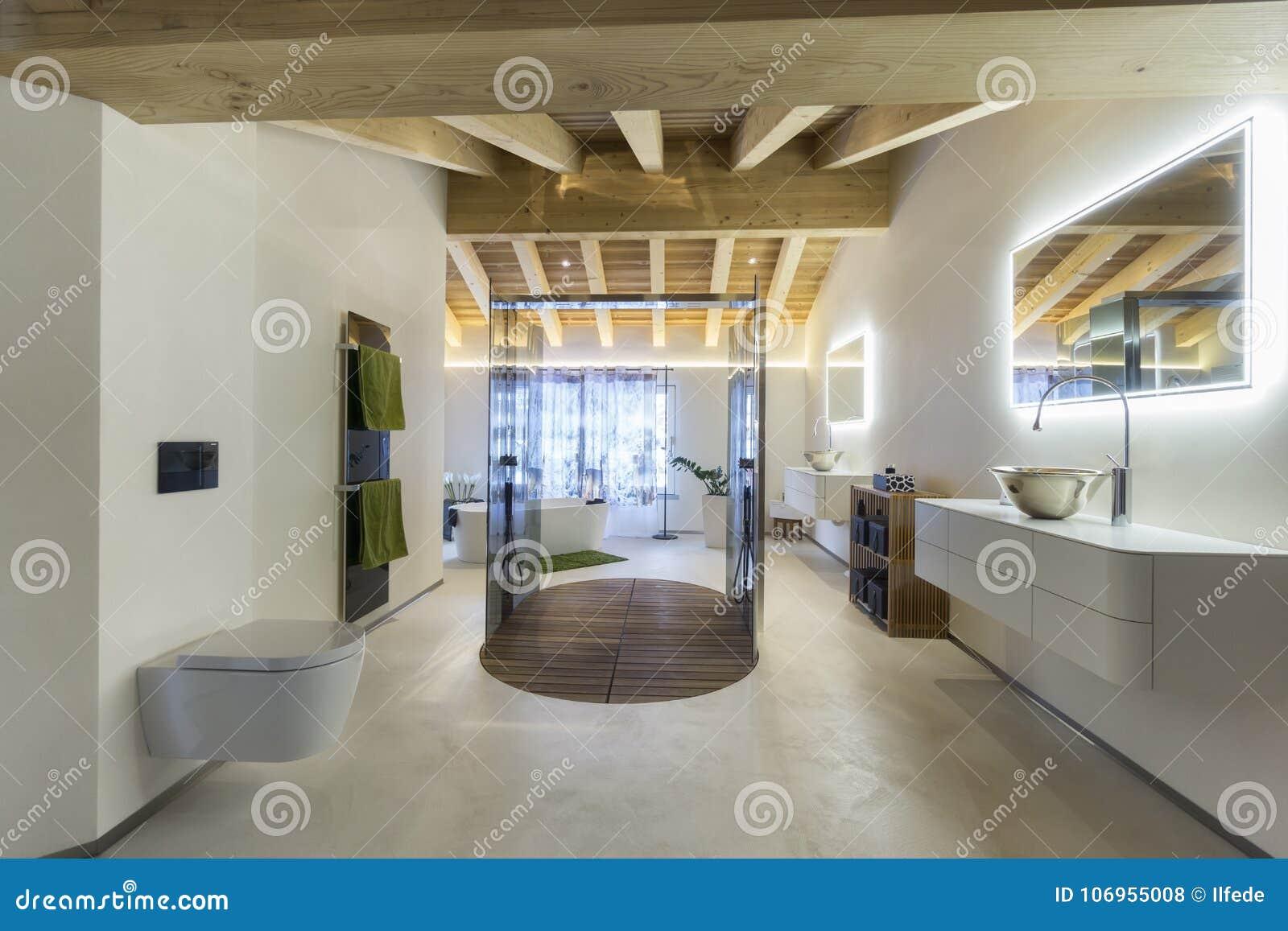 Salle De Bains De Luxe Avec Le Plafond De Douche Et En Bois Photo ...