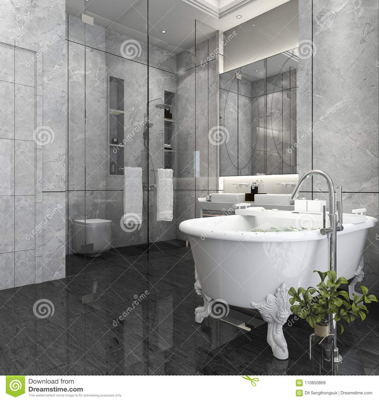 Salle De Bains De Luxe Du Rendu 3d Dans L\'hôtel Illustration Stock ...