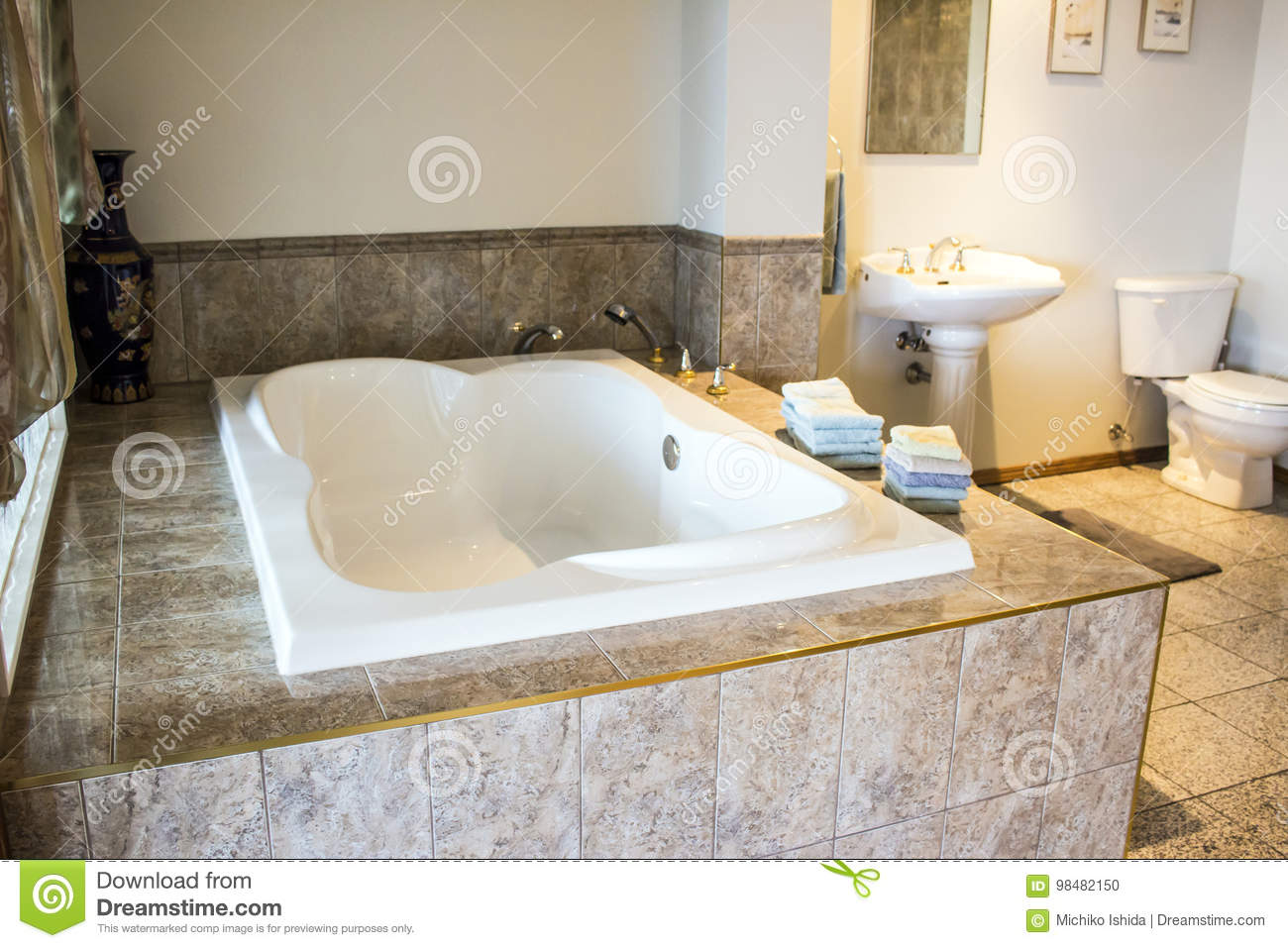 salle de bains luxueuse de baignoire photo stock image du jacuzzi beaut 98482150. Black Bedroom Furniture Sets. Home Design Ideas