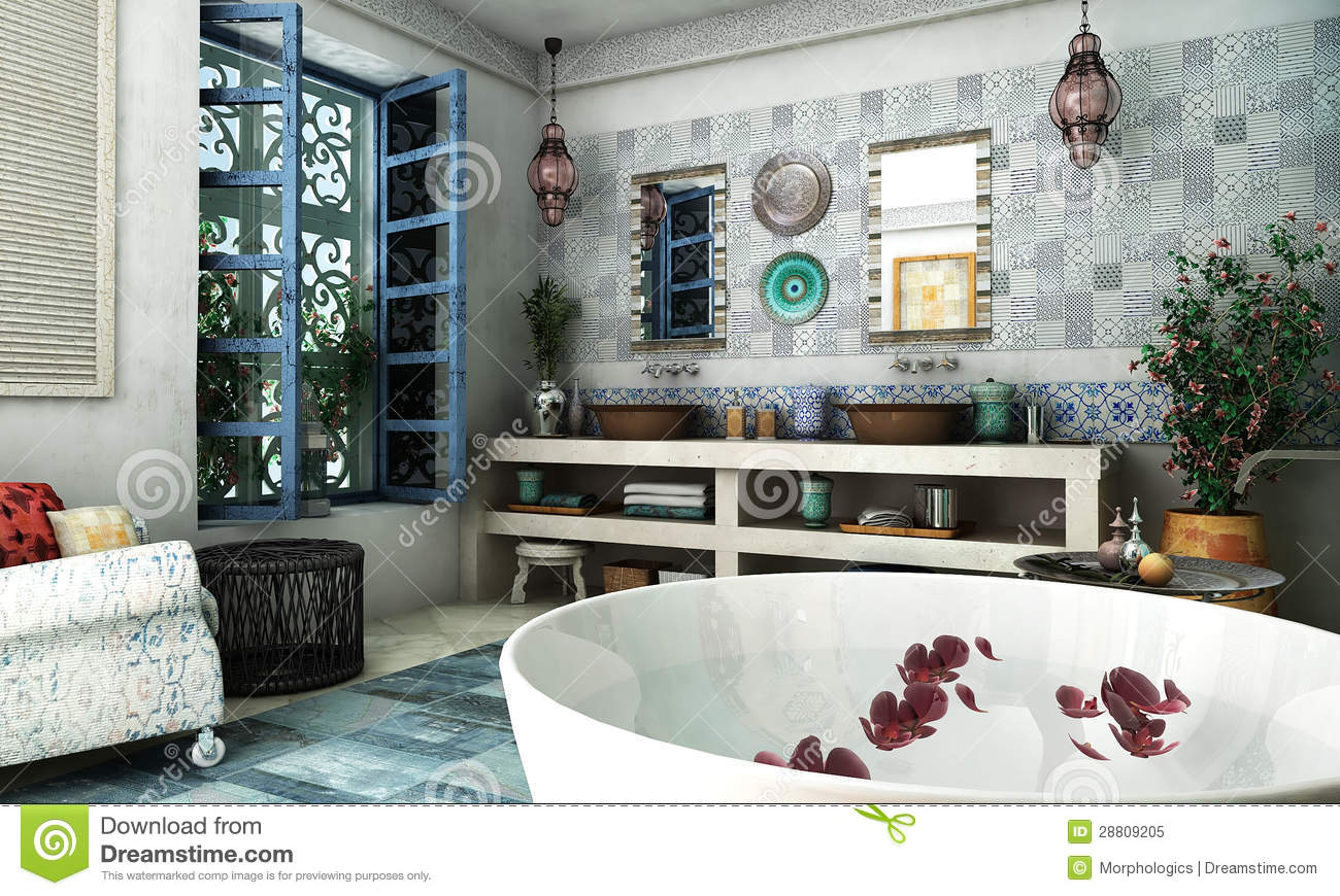 salle de bains marocaine image stock image du bathroom 28809205. Black Bedroom Furniture Sets. Home Design Ideas