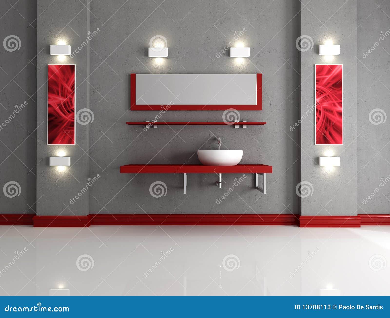 Salle de bains minimaliste illustration stock - Salle de bain rouge et gris ...