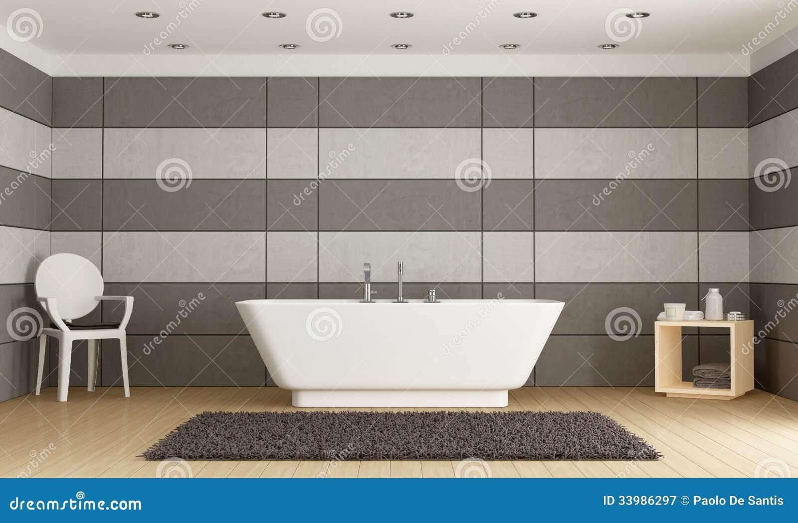 Salle de bains minimaliste avec la baignoire photographie for Salle de bain minimaliste