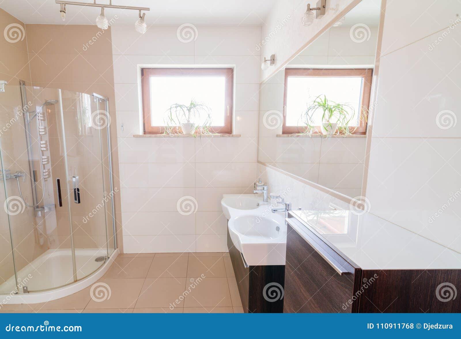 salle de bains moderne avec la boîte en verre de douche photo stock