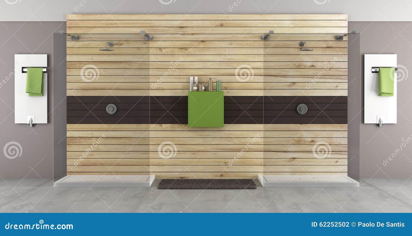 salle de bains moderne avec la double douche illustration stock illustration du panneaux. Black Bedroom Furniture Sets. Home Design Ideas
