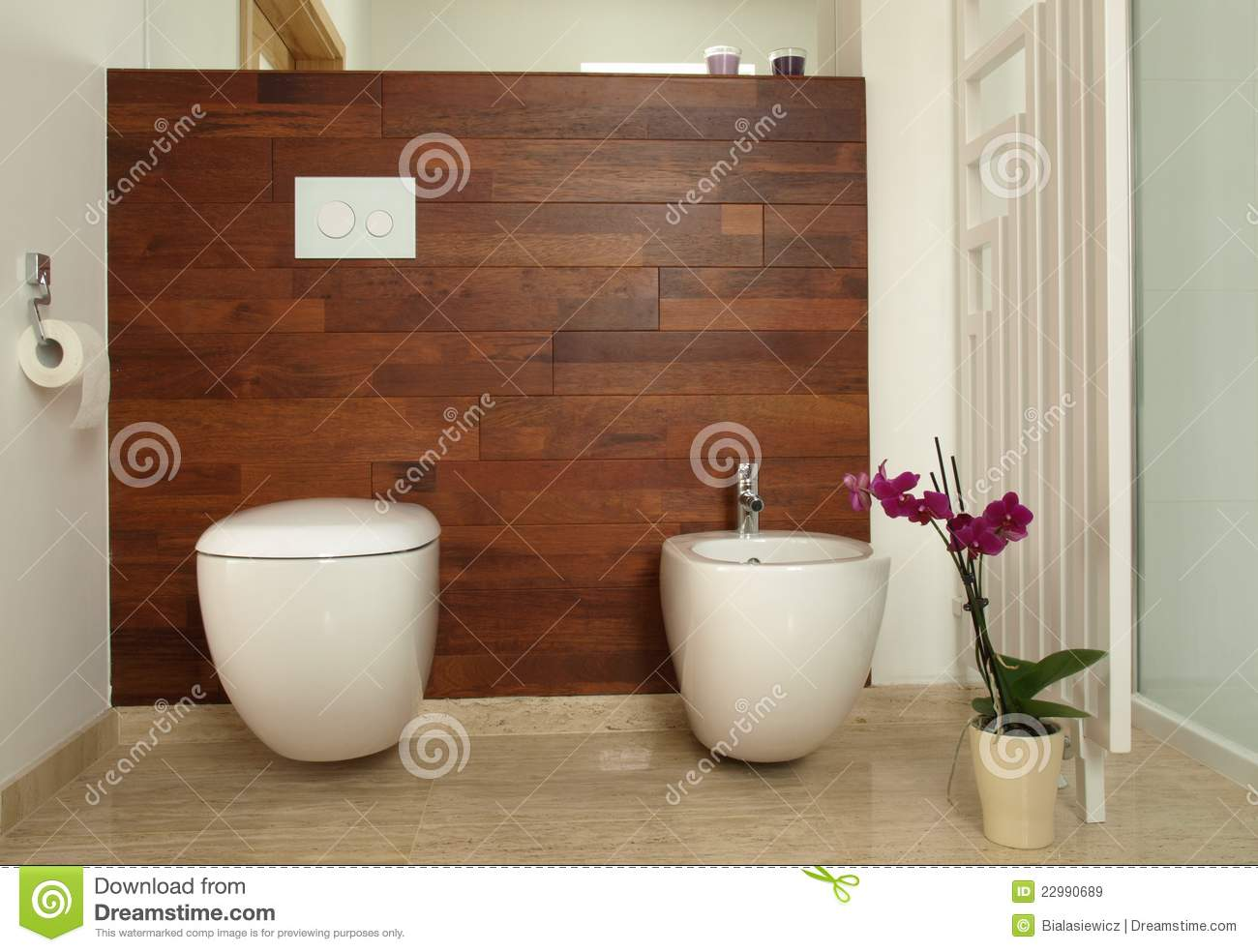 salle de bains moderne avec la toilette et le bidet image stock image du bougies contemporain. Black Bedroom Furniture Sets. Home Design Ideas