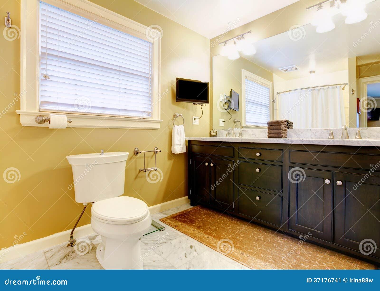 Tele Salle De Bain salle de bains moderne avec la tv image stock - image du