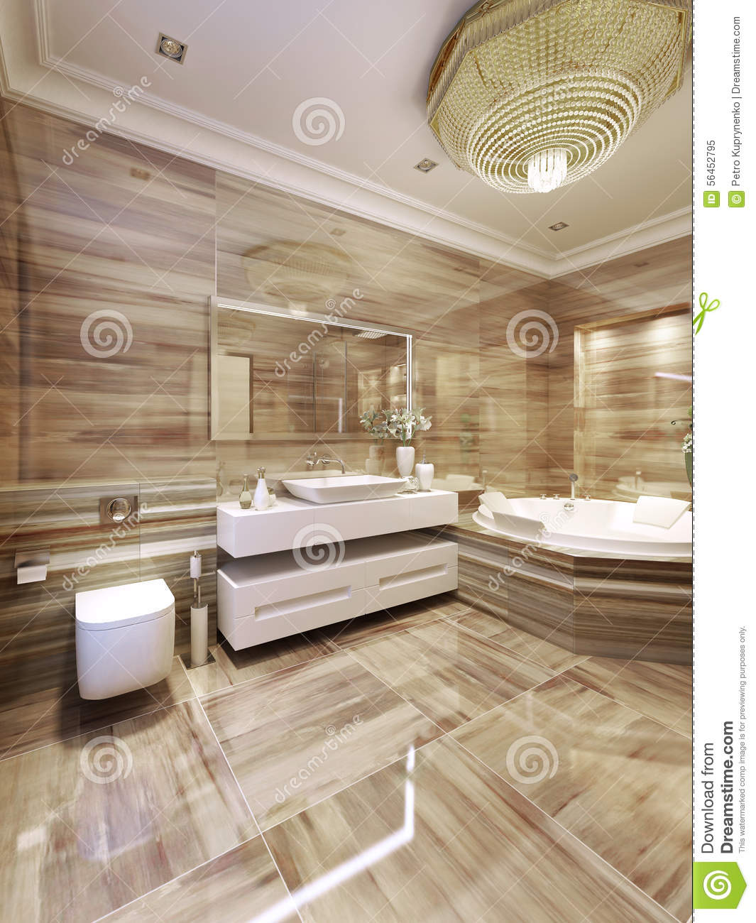 salle de bains moderne avec le jacuzzi image stock image 56452795. Black Bedroom Furniture Sets. Home Design Ideas
