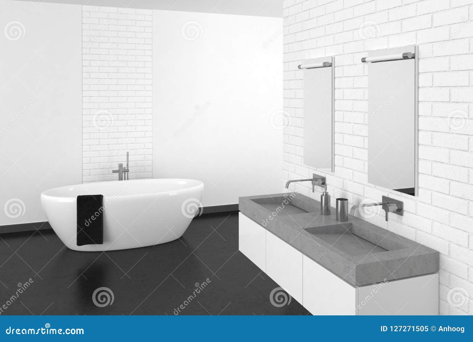 Salle De Bain Brique salle de bains moderne avec le mur de briques blanc et le