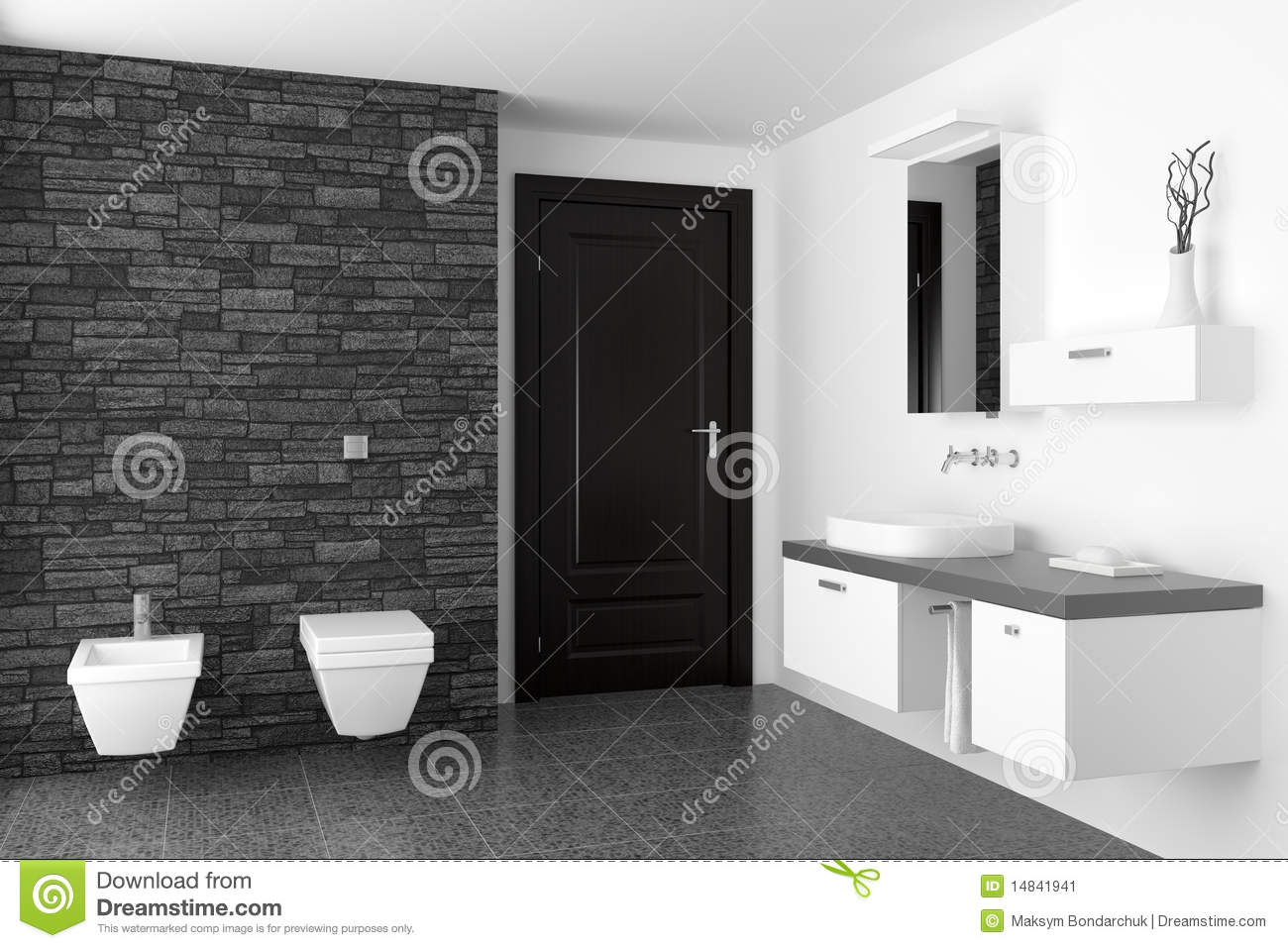 salle de bains moderne avec le mur en pierre noir image stock image 14841941. Black Bedroom Furniture Sets. Home Design Ideas
