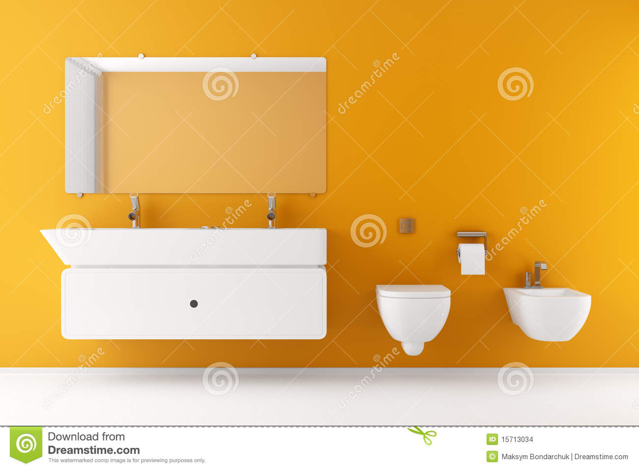 salle de bains moderne avec le mur orange illustration stock illustration du bidet orange. Black Bedroom Furniture Sets. Home Design Ideas