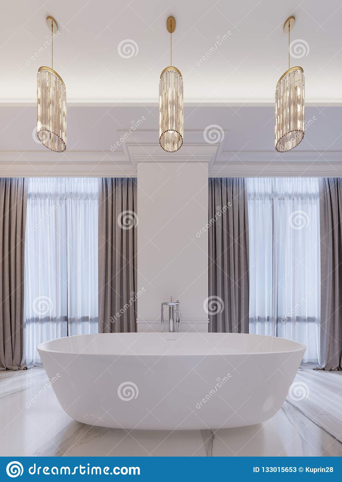 Salle De Bains Moderne Avec Une Fenêtre, Lustre Accrochant ...
