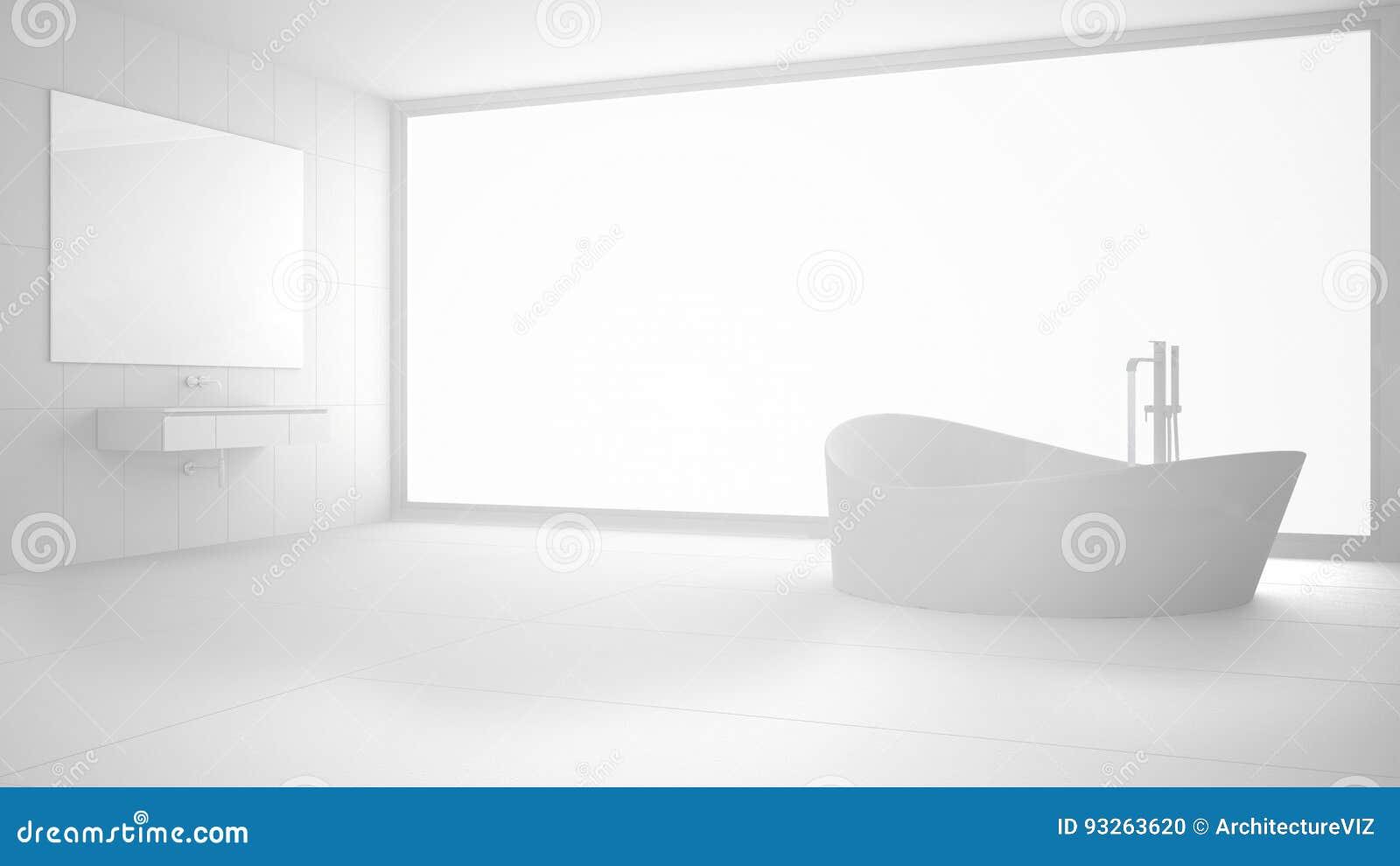 Salle de bains moderne blanche totale avec la grande fenêtre, intérieur minimaliste