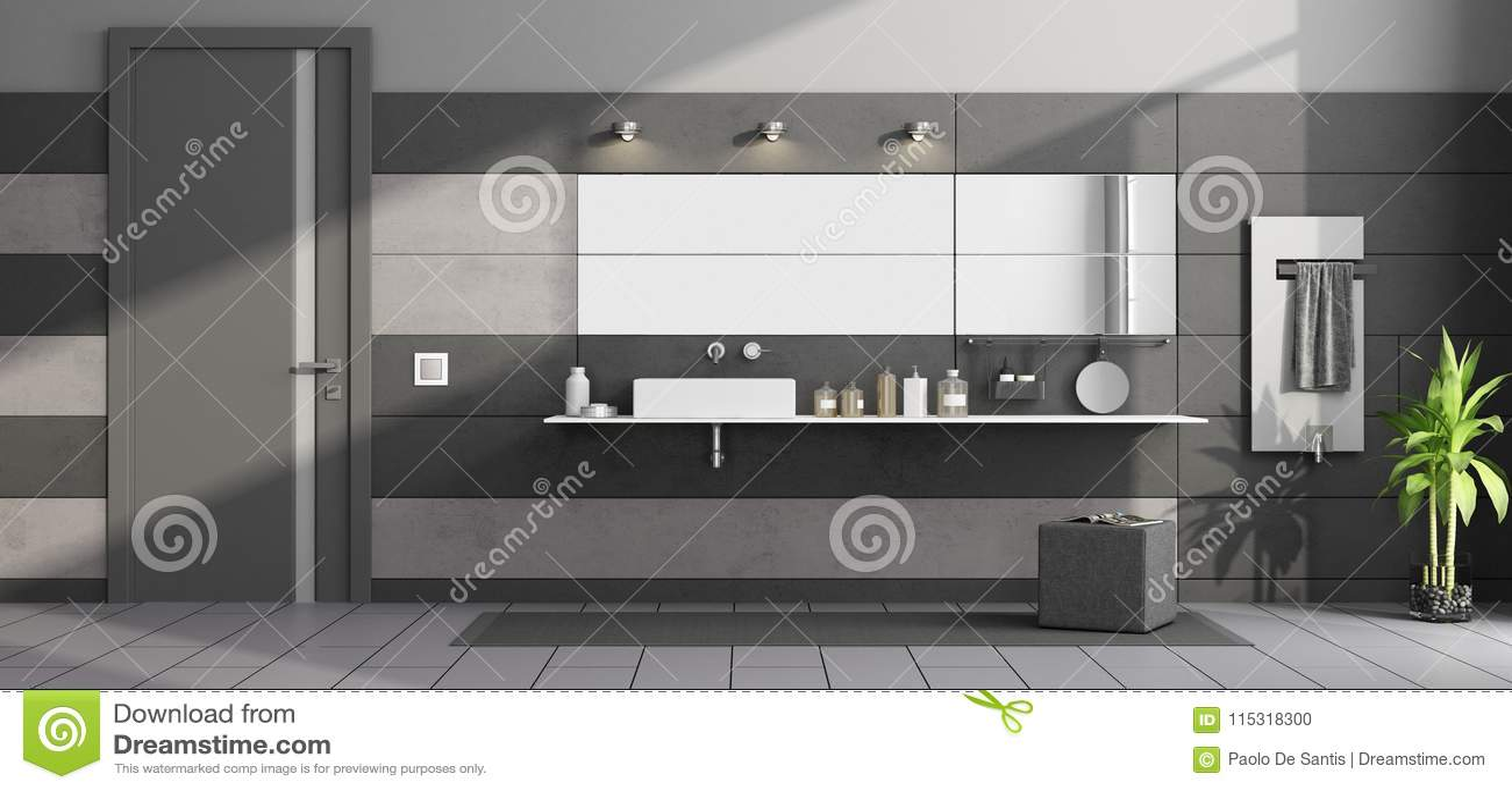 Salle De Bains Moderne Noire Et Grise Illustration Stock ...