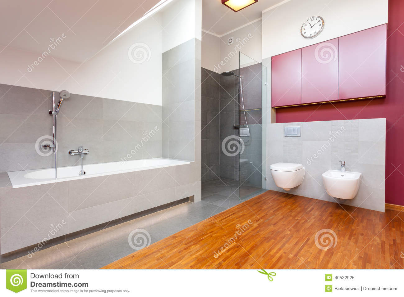salle de bains moderne rouge et grise image stock image. Black Bedroom Furniture Sets. Home Design Ideas