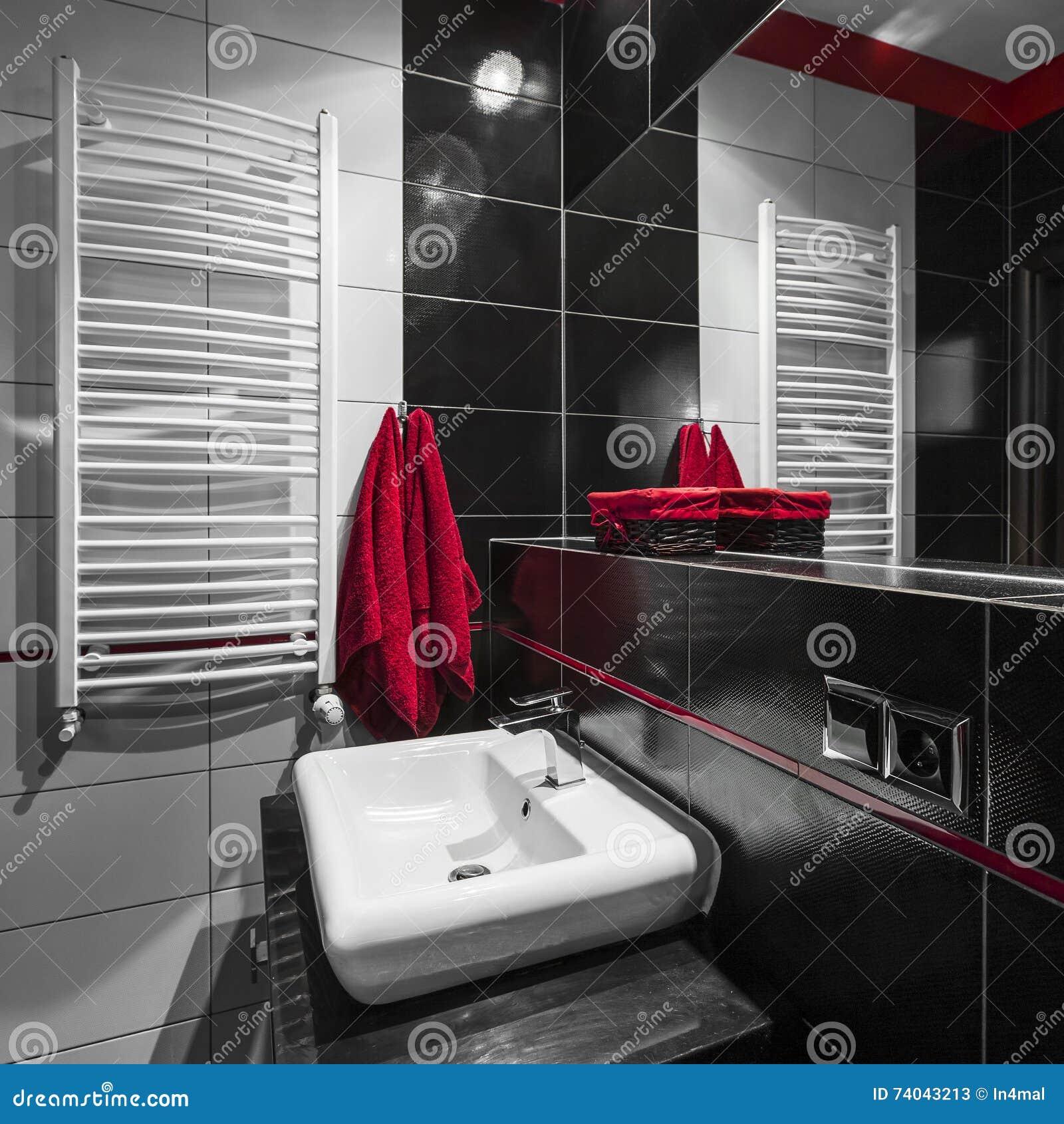 Salle De Bains Noire Et Blanche Moderne Image Stock Image Du Fonc