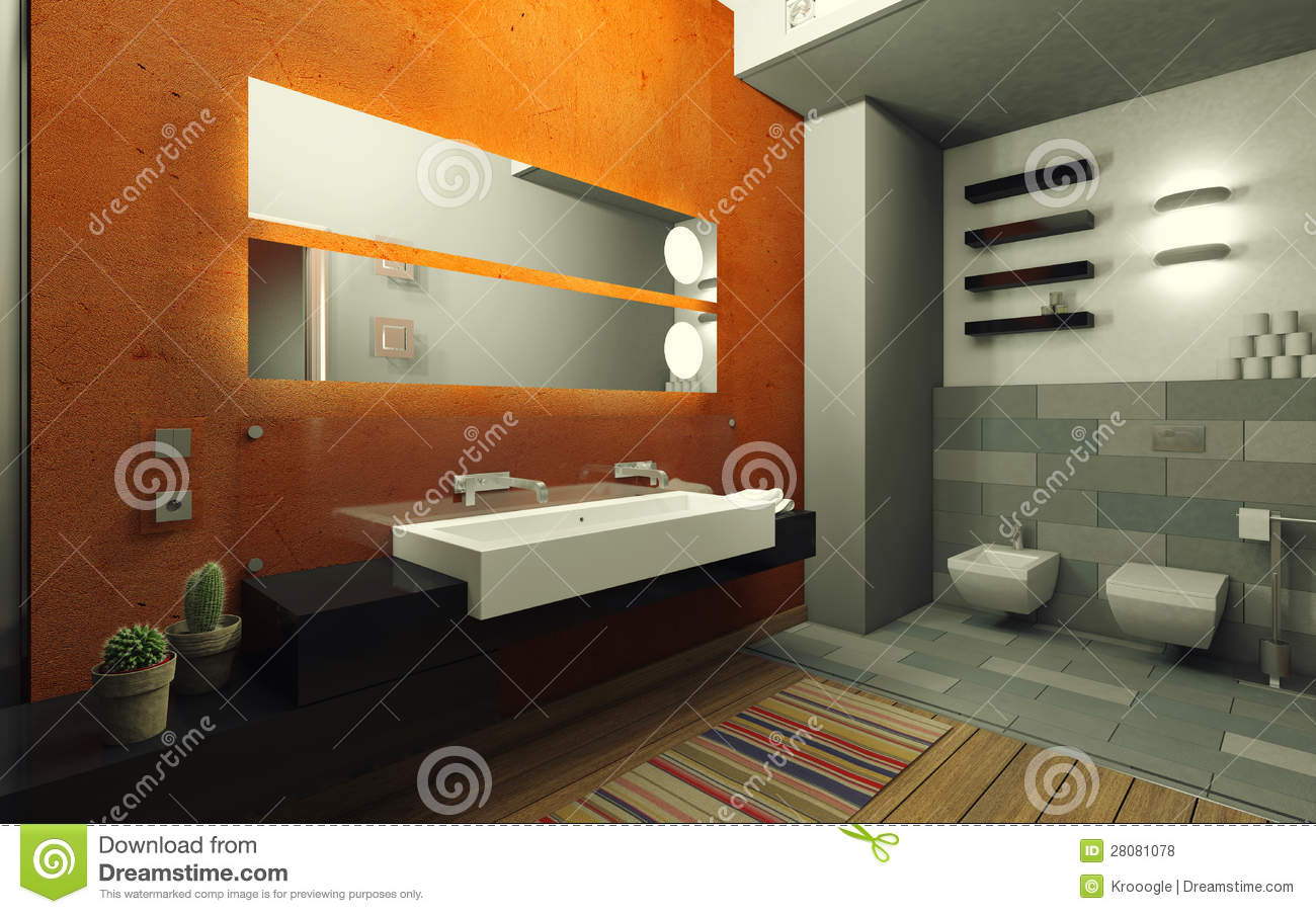 Salle de bains orange illustration stock. Illustration du ...