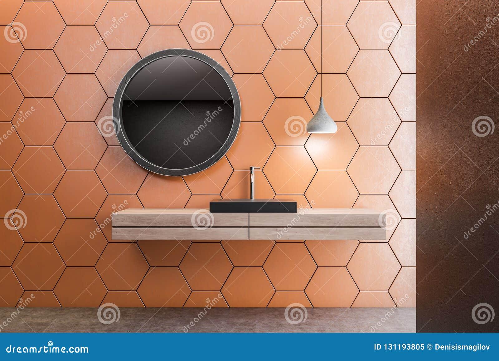 Salle De Bains Orange De Nid D\'abeilles, évier Noir Illustration ...