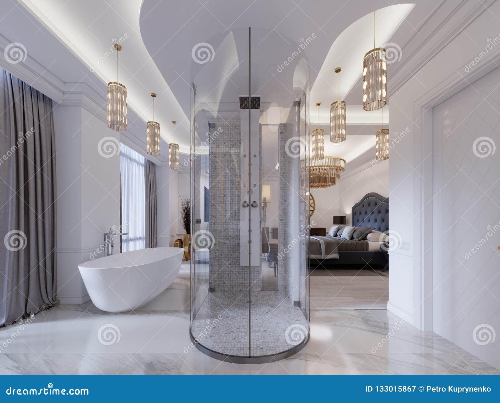Chambre Ouverte Salle De Bain salle de bains ouverte moderne dans la chambre d'amis avec