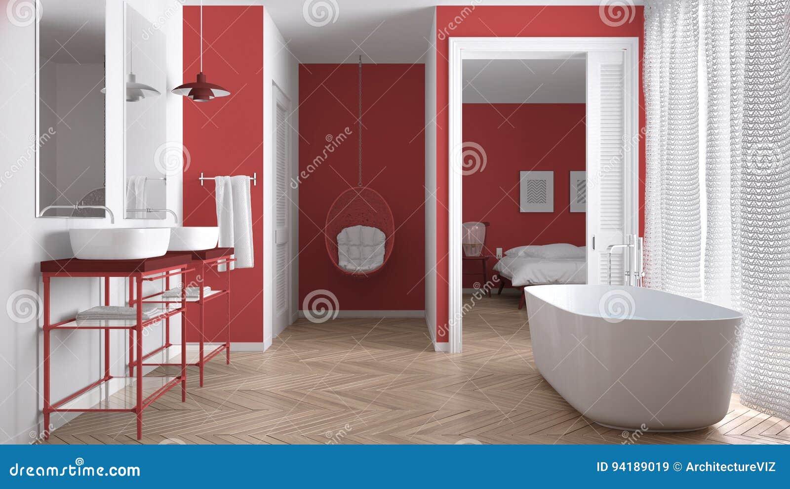 Salle De Bains Scandinave Blanche Et Rouge Minimaliste Avec La Chambre à  Coucher