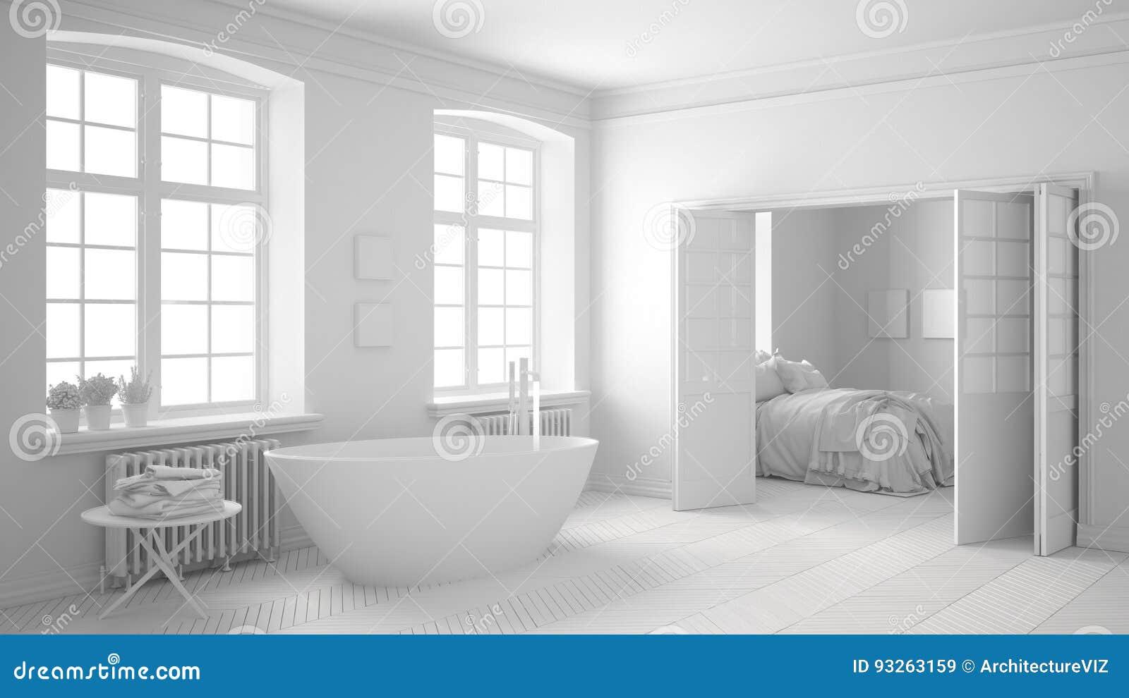 Salle De Bains Scandinave Blanche Totale Avec La Chambre à Coucher à ...