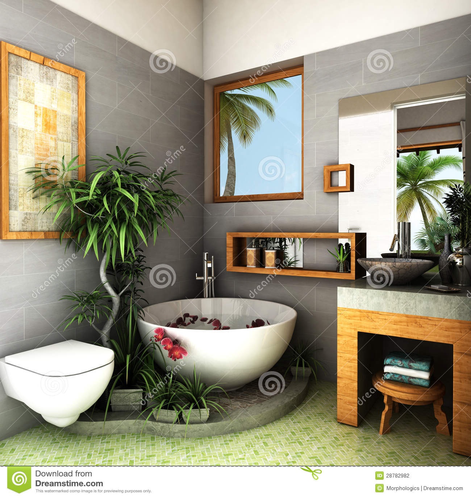 Salle De Bains Tropicale Illustration Stock Illustration Du