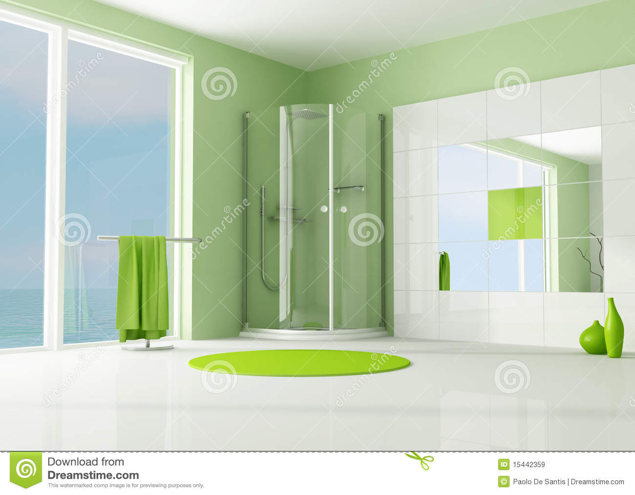 salle de bains verte avec la douche de cabine images libres de droits image 15442359. Black Bedroom Furniture Sets. Home Design Ideas